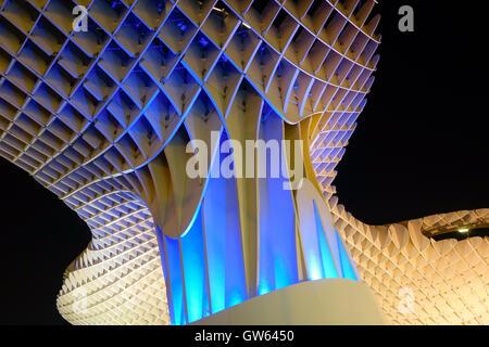 Seville, Spain. Metropol Parasol on La Encarnacion Square in Seville, at night, Andalusia, Spain - Stock Photo