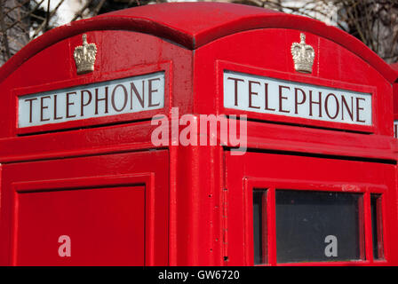 Typical london phone box. Detail. - Stock Photo