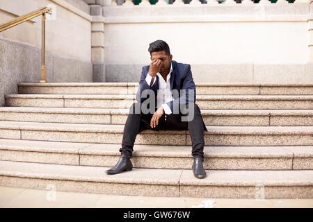 Indian Man Sitting Stress Sad Depressed Laptop Computer