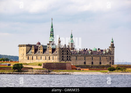 Kronborg castle from the seaside - Stock Photo