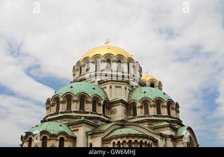 Domes of St Alexander Nevsky Cathedral, Sofia, Bulgaria - Stock Photo