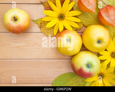 Apples, topinambur flowers, physalis and yellow leaves on the wooden planks background - Stock Photo