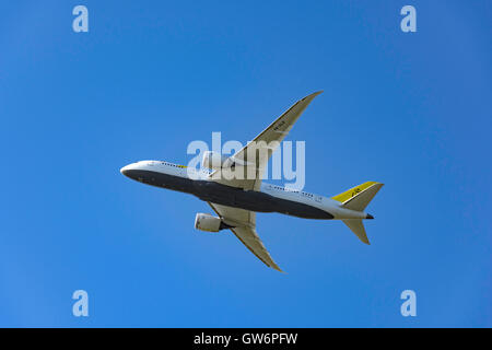 Royal Brunei Airlines Boeing 787-8 Dreamliner aircraft taking off from Heathrow Airport, Greater London, England, - Stock Photo