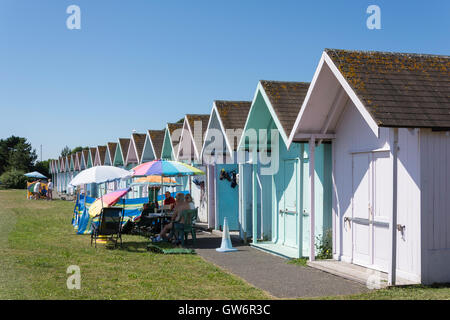 Colourful beach huts at Eastney Beach, Southsea, Portsmouth, Hampshire, England, United Kingdom - Stock Photo