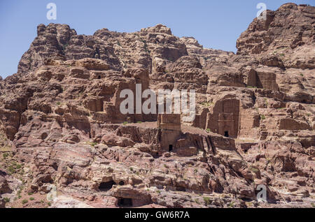 Mu'aisireh Tombs. The cave tombs  in Petra, Jordan - Stock Photo