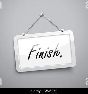 finish hanging sign, 3D illustration isolated on grey wall - Stock Photo