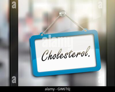 cholesterol hanging sign, 3D illustration isolated on office glass door - Stock Photo