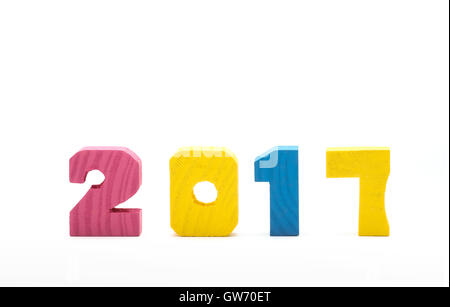 Colorful 2017 new year wood number isolated on white background. - Stock Photo