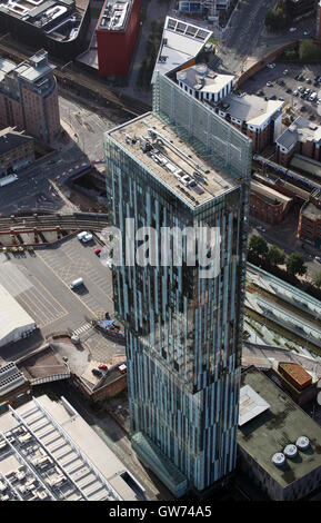 aerial view of Beetham Tower in Manchester, UK - Stock Photo