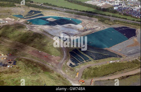 aerial view of landfill site ion Lancashire, UK - Stock Photo