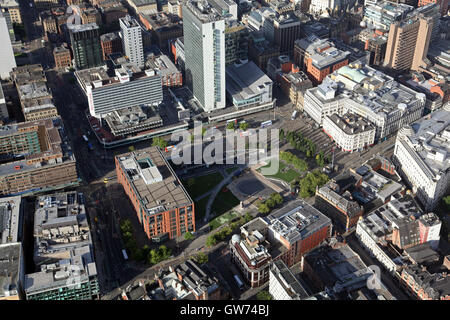 aerial view of Piccadilly Gardens in Manchester city centre, UK - Stock Photo