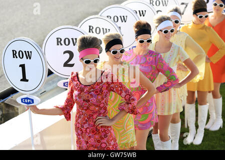 Chichester, UK. 11th Sep, 2016. Goodwood Grid Girls.  The Goodwood Revival is a three-day festival held each September - Stock Photo
