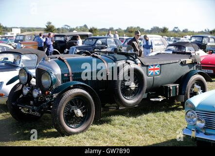 London, Chichester in south UK. 11th Sep, 2016. Vintage cars are seen at the Goodwood Revival 2016 in Goodwood, - Stock Photo