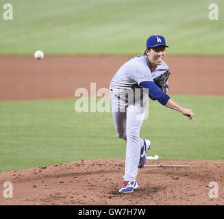 Miami, Florida, USA. 11th Sep, 2016. Kenta Maeda (Dodgers) MLB : Kenta Maeda of the Los Angeles Dodgers pitches - Stock Photo