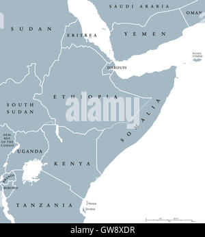 Horn of Africa peninsula countries political map with national borders and the biggest lakes. East Africa. - Stock Photo