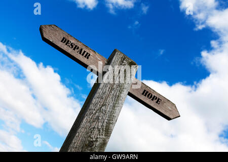 Despair hope grief depression sign words direction directions choice option options choose way in life antonyms - Stock Photo