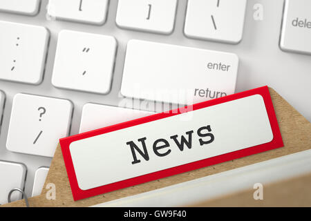 Folder Index with News. 3D Illustration. - Stock Photo