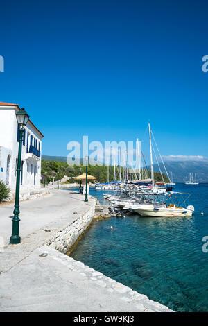 harbour in Fiskardo, Kefalonia, Ionian Islands, Greece, Europe - Stock Photo