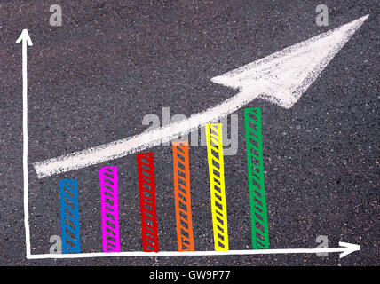 Colorful graph drawn over tarmac and directional arrow, business design concept - Stock Photo