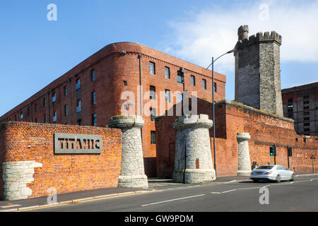Themed Hotel RMS Titanic in converted dockside warehouse, situated in Bramley Moor Dock, Liverpool, part of the - Stock Photo