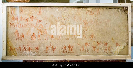 Egypt, Cairo, Egyptian Museum, from the tomb of Kaemrehu, Saqqara, a big relief depicting daily life scenes. - Stock Photo