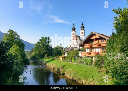 Aschau im Chiemgau: church, river Prien, Germany, Bayern, Bavaria, Oberbayern, Chiemgau, Upper Bavaria - Stock Photo