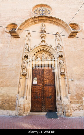 Entry door to church on Carrer San Miquel on December 13, 2015 in Palma de Mallorca, Balearic islands, Spain - Stock Photo