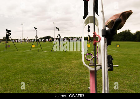 Compound bow at archery competition - Stock Photo