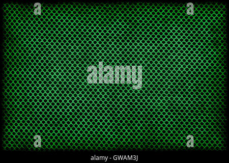 Frame or border: green grunge pattern of wattled grid mesh textile or fabric. - Stock Photo
