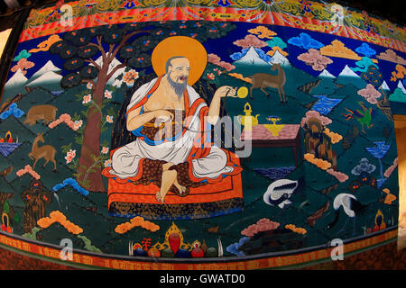 Traditional paintings inside the Paro Dzong, Paro, Bhutan. - Stock Photo