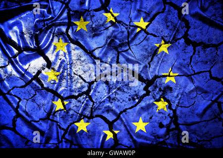 European flag with tears, symbolic photo Europe after the Brexit vote, Europa-Fahne mit Rissen, Symbolfoto Europa - Stock Photo