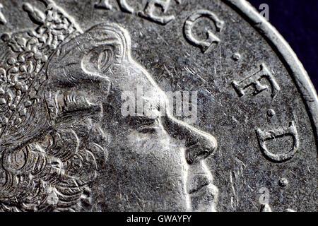 British one-pound coin, Britische Ein-Pfund-Muenze - Stock Photo
