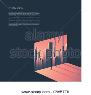 Businessman looking through window at urban skyline. Business and corporate world concept vector illustration with - Stock Photo