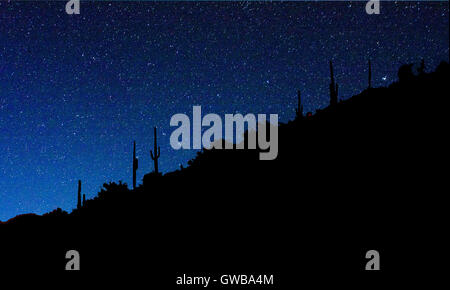 Stars against azure night sky near Carefree, Arizona, USA - Stock Photo