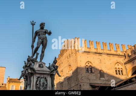 Neptune Statue and Piazza Maggiore in Bologna, Italy. - Stock Photo