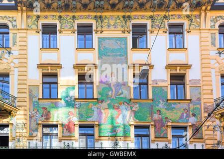 Richly decorated building with Art Nouveau facade on Vodičkova, Nové Město, the New Town, Prague 1, Czech Republic. - Stock Photo