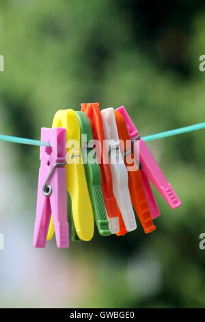 Colorful laundry pins on the line. - Stock Photo