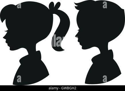 Girl Face Profile Silhouette With Ponytail Hair In Grunge