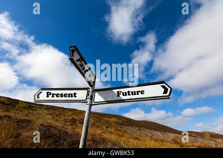 Past present future live way sign words direction directions choice option options choose way in life antonyms antonym - Stock Photo