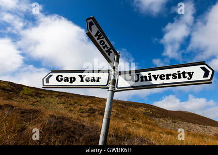Gap year university work future choice choose life decision decide further education direction sign words antonyms - Stock Photo