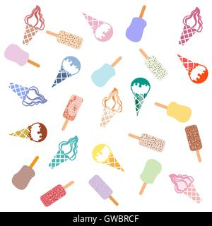 Colorful picture of various kinds of delicious ice cream on a white background - Stock Photo