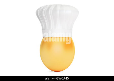 Egg with Chefs Hat, 3D rendering isolated on white background - Stock Photo