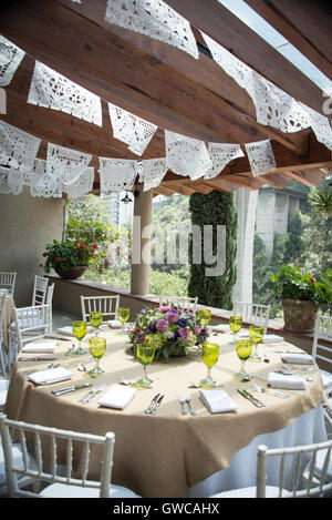 tissue paper banner wedding decoration, papel picado. - Stock Photo