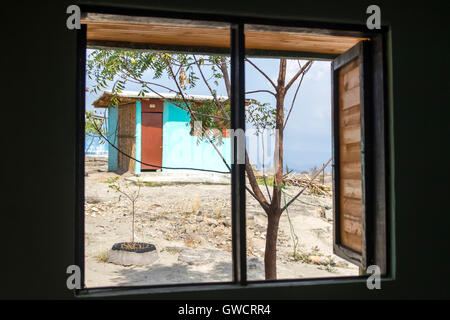 View from cabin in the Hotel Villa Marquez. The Tatacoa Desert is an arid area located in the department of Huila - Stock Photo