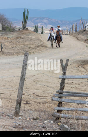 Riding in the desert tatacoa; The Tatacoa Desert is an arid area located in the department of Huila in the municipality - Stock Photo