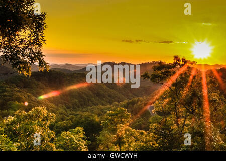 Panoramic view of Great Smoky Mountains National Park in summer - Stock Photo
