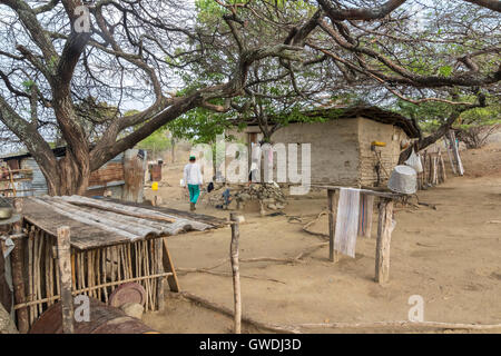 Peasant house in the desert. The Tatacoa Desert is an arid area located in the department of Huila in the municipality - Stock Photo
