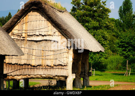 Reconstructed thatched roof wooden huts built on stilts at the Jomon Sannai-Maruyama site in Aomori, Japan - Stock Photo