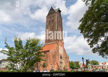 St. Mary's Church tower, Hanseatic City of Wismar, Mecklenburg-Vorpommern, Germany - Stock Photo