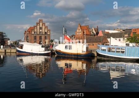 historic Old Harbour, watergate and old customs house, Hanseatic City of Wismar, Mecklenburg-Vorpommern, Germany - Stock Photo